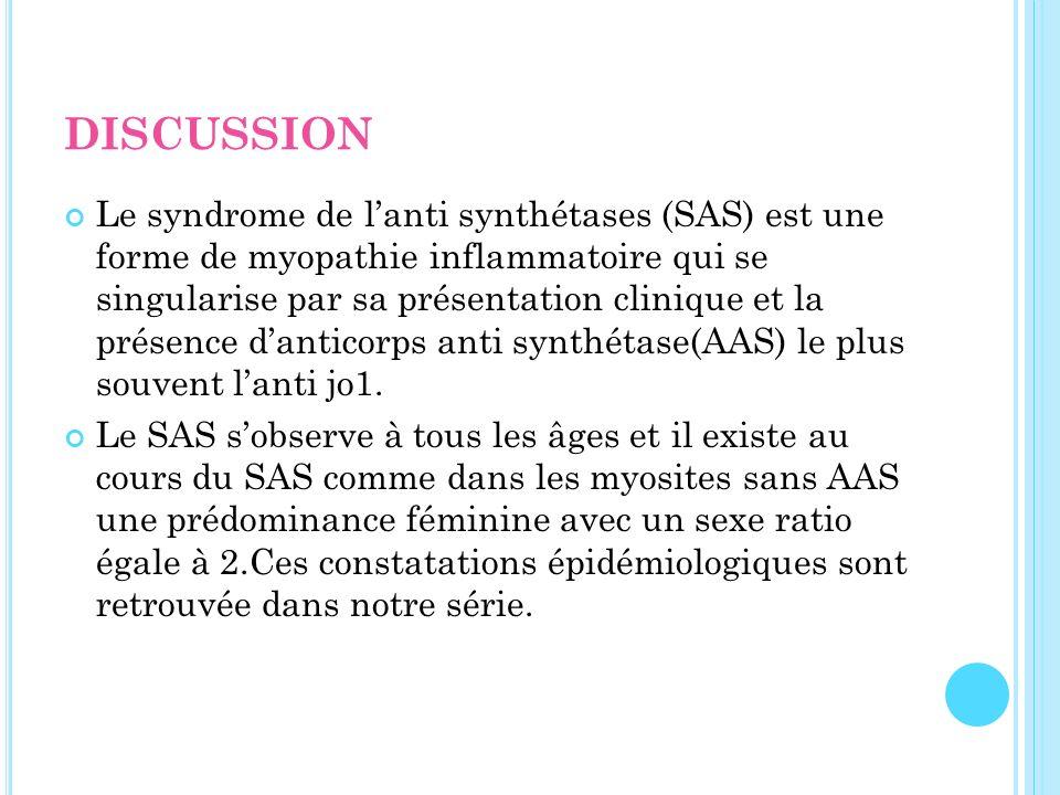 Le syndrome de lanti synthétases (SAS) est une forme de myopathie inflammatoire qui se singularise par sa présentation clinique et la présence dantico