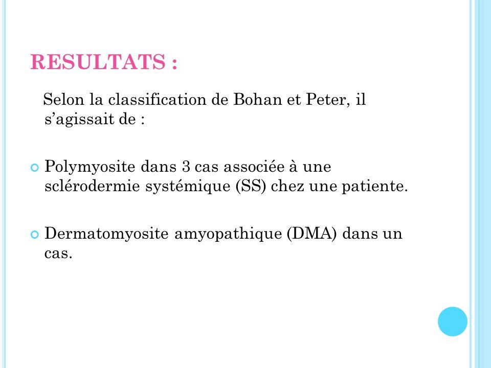 RESULTATS : Selon la classification de Bohan et Peter, il sagissait de : Polymyosite dans 3 cas associée à une sclérodermie systémique (SS) chez une p
