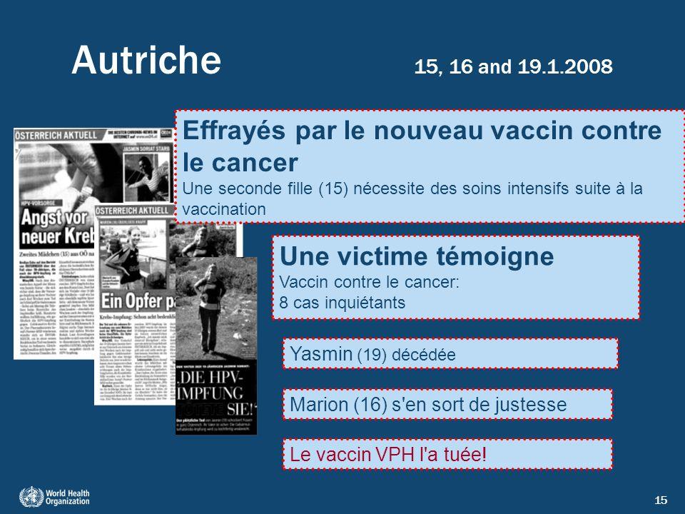 15 Autriche 15, 16 and 19.1.2008 Effrayés par le nouveau vaccin contre le cancer Une seconde fille (15) nécessite des soins intensifs suite à la vacci