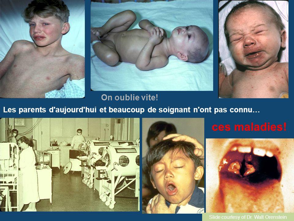 On oublie vite! Les parents d'aujourd'hui et beaucoup de soignant n'ont pas connu… ces maladies! Slide courtesy of Dr. Walt Orenstein