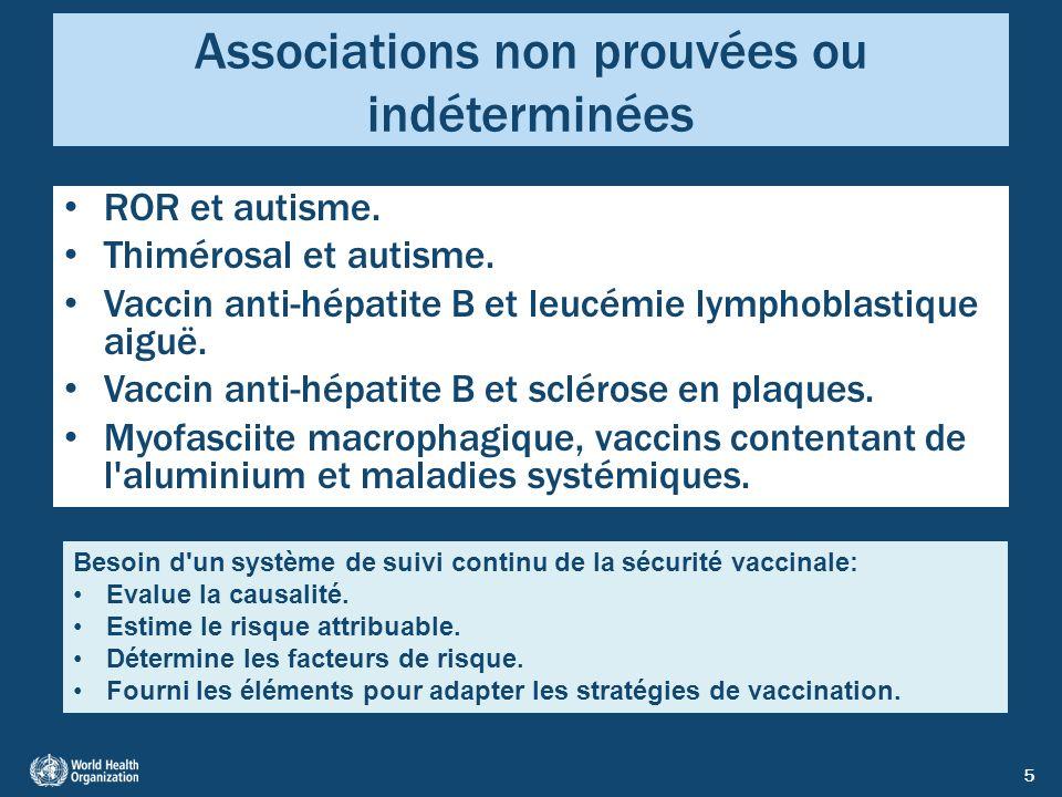 5 Associations non prouvées ou indéterminées ROR et autisme. Thimérosal et autisme. Vaccin anti-hépatite B et leucémie lymphoblastique aiguë. Vaccin a