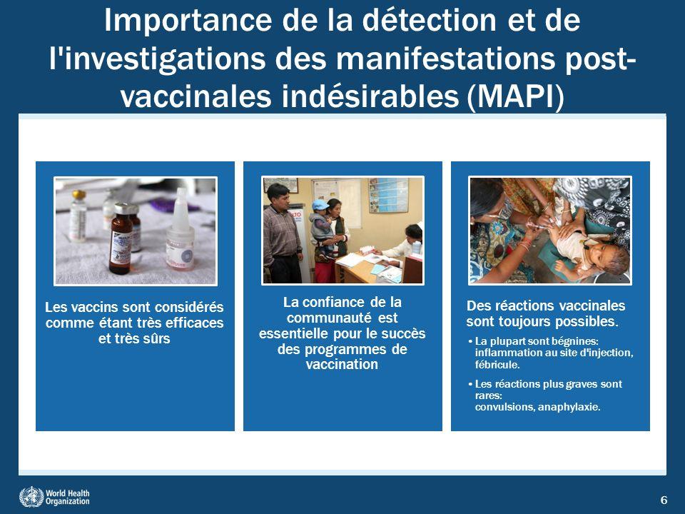 6 Importance de la détection et de l'investigations des manifestations post- vaccinales indésirables (MAPI) Les vaccins sont considérés comme étant tr