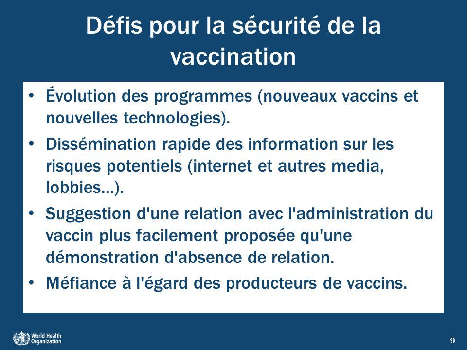 9 Défis pour la sécurité de la vaccination Évolution des programmes (nouveaux vaccins et nouvelles technologies). Dissémination rapide des information
