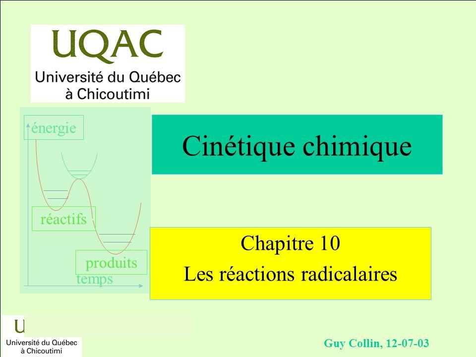 réactifs produits énergie temps Guy Collin, 12-07-03 Chapitre 10 Les réactions radicalaires Cinétique chimique