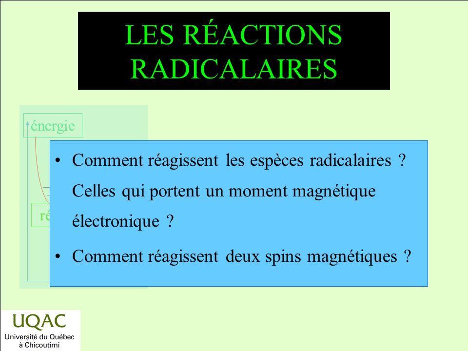 réactifs produits énergie temps LES RÉACTIONS RADICALAIRES Comment réagissent les espèces radicalaires .