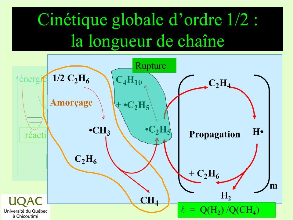réactifs produits énergie temps Cinétique globale dordre 1/2 : la longueur de chaîne m Propagation C 4 H 10 + C 2 H 5 1/2 C 2 H 6 CH 3 H C2H4C2H4 C 2 H 6 CH 4 C 2 H 5 + C 2 H 6 H2H2 = Q(H 2 ) /Q(CH 4 ) Amorçage Rupture