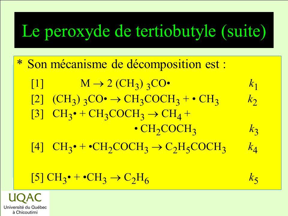 réactifs produits énergie temps *Son mécanisme de décomposition est : [1] M 2 (CH 3 ) 3 CO k 1 [2] (CH 3 ) 3 CO CH 3 COCH 3 + CH 3 k 2 [3] CH 3 + CH 3 COCH 3 CH 4 + CH 2 COCH 3 k 3 [4] CH 3 + CH 2 COCH 3 C 2 H 5 COCH 3 k 4 [5] CH 3 + CH 3 C 2 H 6 k 5 Le peroxyde de tertiobutyle (suite)