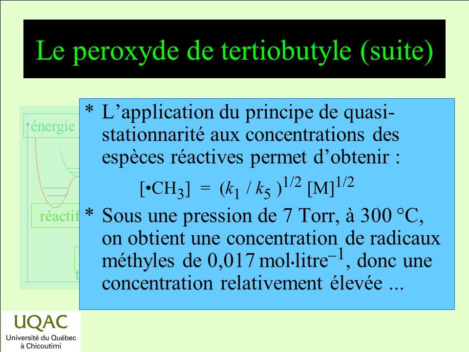 réactifs produits énergie temps Le peroxyde de tertiobutyle (suite) *Lapplication du principe de quasi- stationnarité aux concentrations des espèces réactives permet dobtenir : [CH 3 ] = (k 1 / k 5 ) 1/2 [M] 1/2 *Sous une pression de 7 Torr, à 300 C, on obtient une concentration de radicaux méthyles de 0,017 mol litre 1, donc une concentration relativement élevée...
