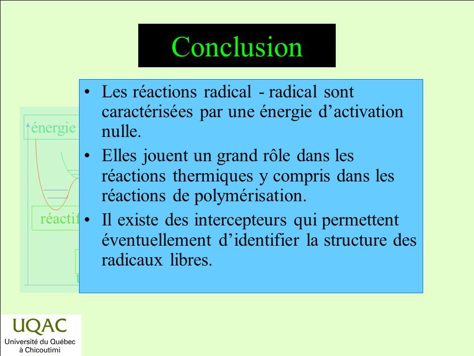 réactifs produits énergie temps Conclusion Les réactions radical - radical sont caractérisées par une énergie dactivation nulle.