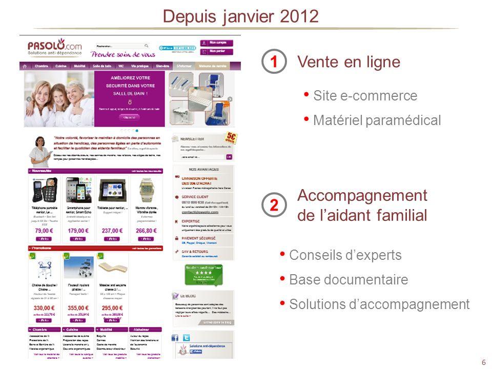 6 Depuis janvier 2012 Vente en ligne1 Site e-commerce Matériel paramédical Accompagnement de laidant familial 2 Conseils dexperts Base documentaire So