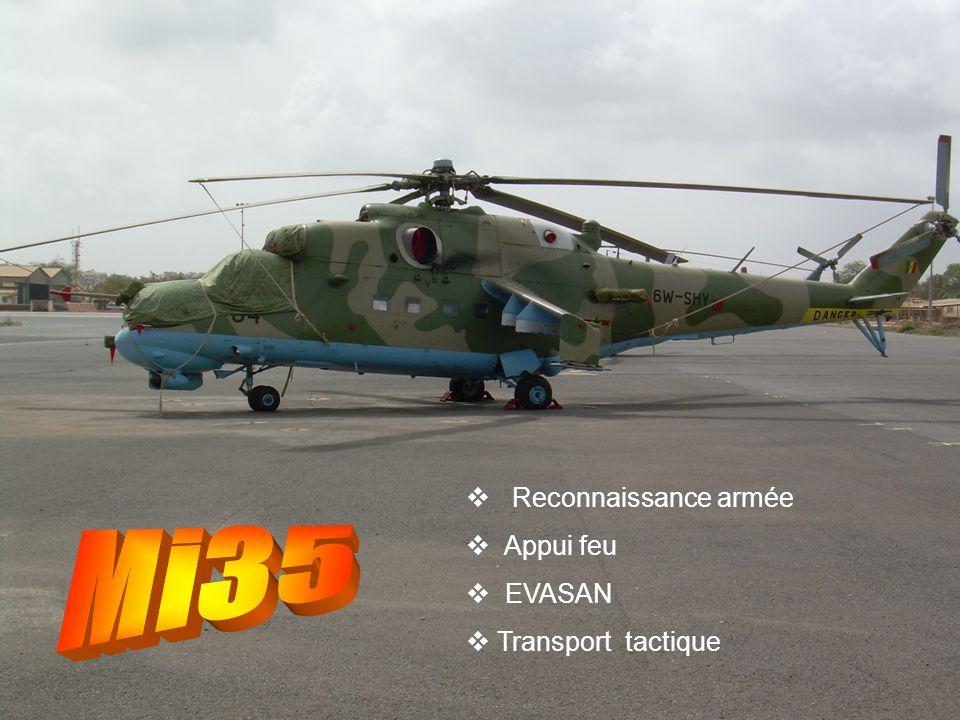 Reconnaissance armée Appui feu EVASAN Transport tactique