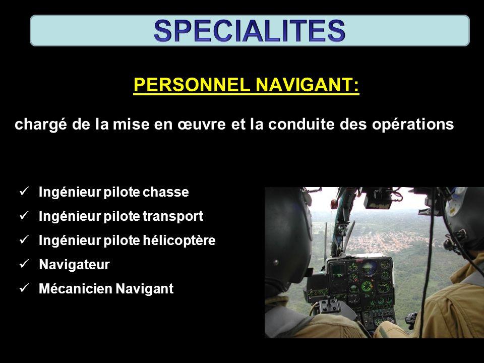 PERSONNEL NAVIGANT: chargé de la mise en œuvre et la conduite des opérations Ingénieur pilote chasse Ingénieur pilote transport Ingénieur pilote hélic