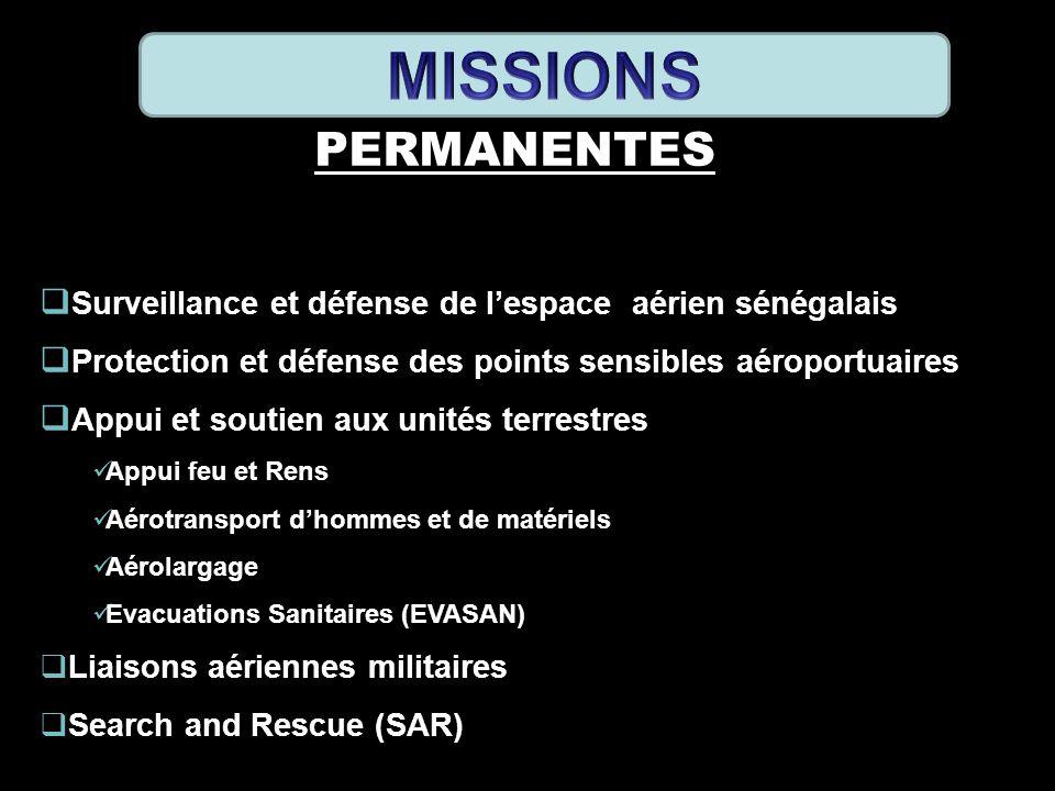 PERMANENTES Surveillance et défense de lespace aérien sénégalais Protection et défense des points sensibles aéroportuaires Appui et soutien aux unités
