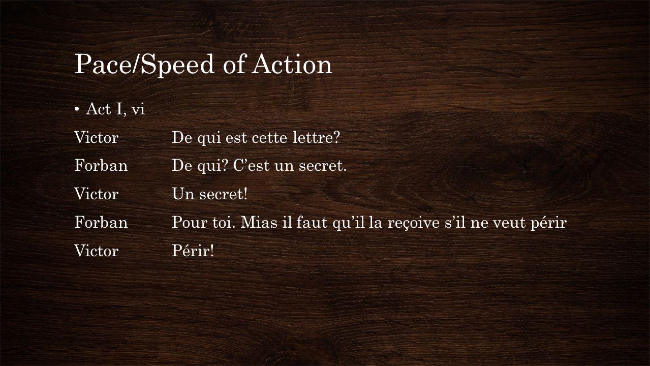 Pace/Speed of Action Act I, vi VictorDe qui est cette lettre.