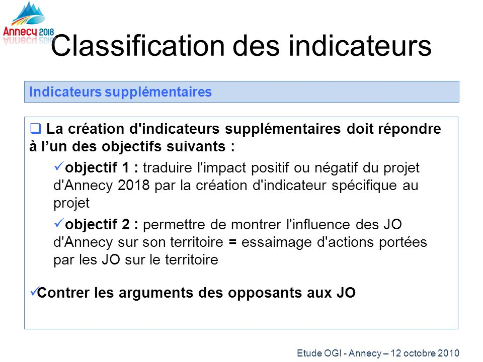 Classification des indicateurs Indicateurs supplémentaires La création d'indicateurs supplémentaires doit répondre à lun des objectifs suivants : obje