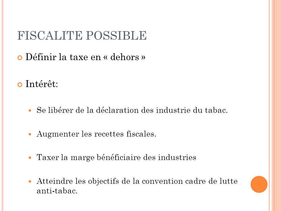 FISCALITE POSSIBLE Définir la taxe en « dehors » Intérêt: Se libérer de la déclaration des industrie du tabac. Augmenter les recettes fiscales. Taxer