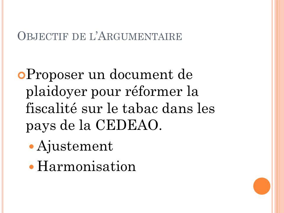 O BJECTIF DE L A RGUMENTAIRE Proposer un document de plaidoyer pour réformer la fiscalité sur le tabac dans les pays de la CEDEAO. Ajustement Harmonis