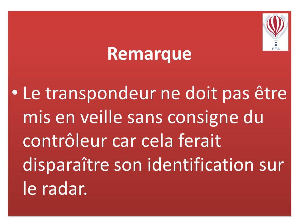 Remarque Le transpondeur ne doit pas être mis en veille sans consigne du contrôleur car cela ferait disparaître son identification sur le radar.