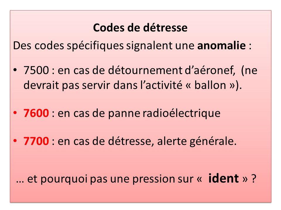 Codes de détresse Des codes spécifiques signalent une anomalie : 7500 : en cas de détournement daéronef, (ne devrait pas servir dans lactivité « ballon »).
