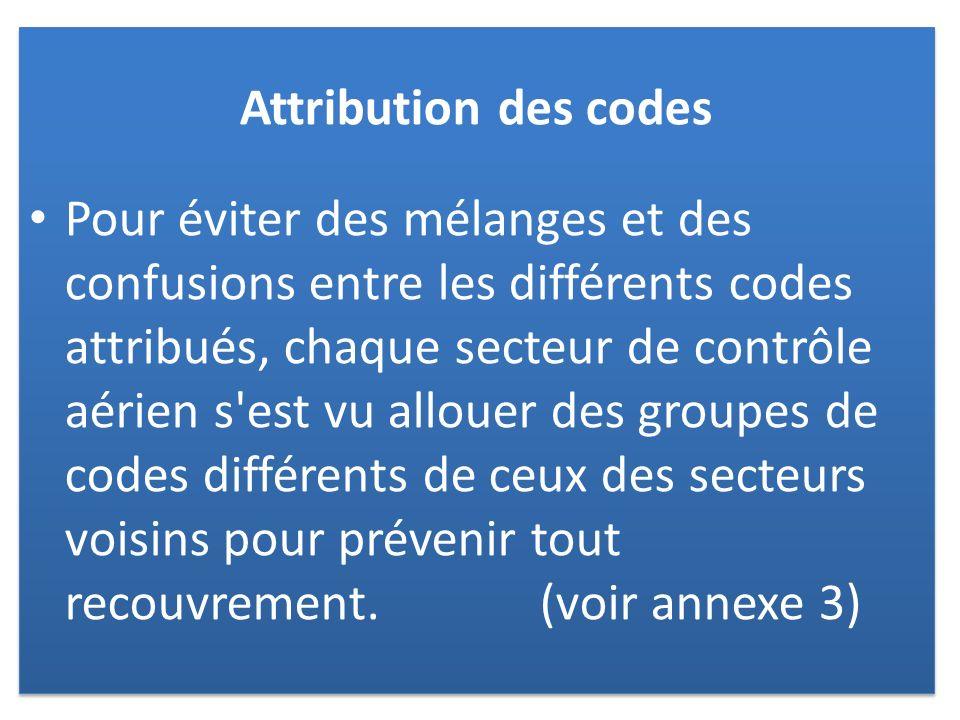 Attribution des codes Pour éviter des mélanges et des confusions entre les différents codes attribués, chaque secteur de contrôle aérien s est vu allouer des groupes de codes différents de ceux des secteurs voisins pour prévenir tout recouvrement.