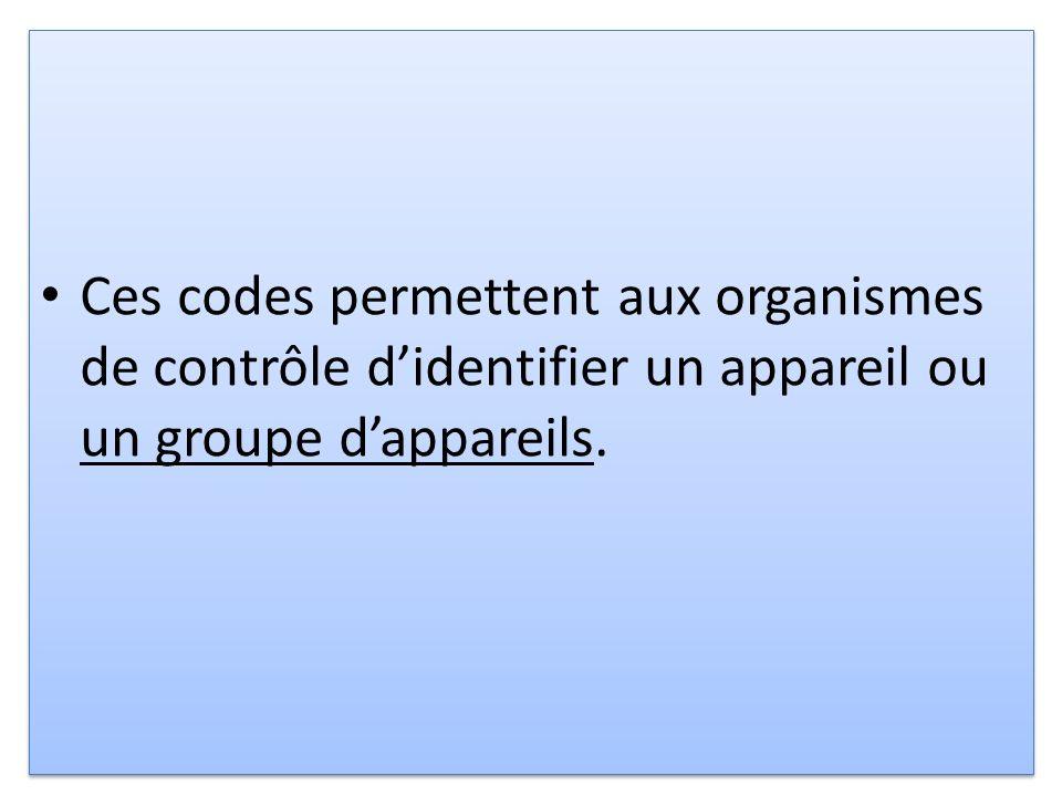 Ces codes permettent aux organismes de contrôle didentifier un appareil ou un groupe dappareils.
