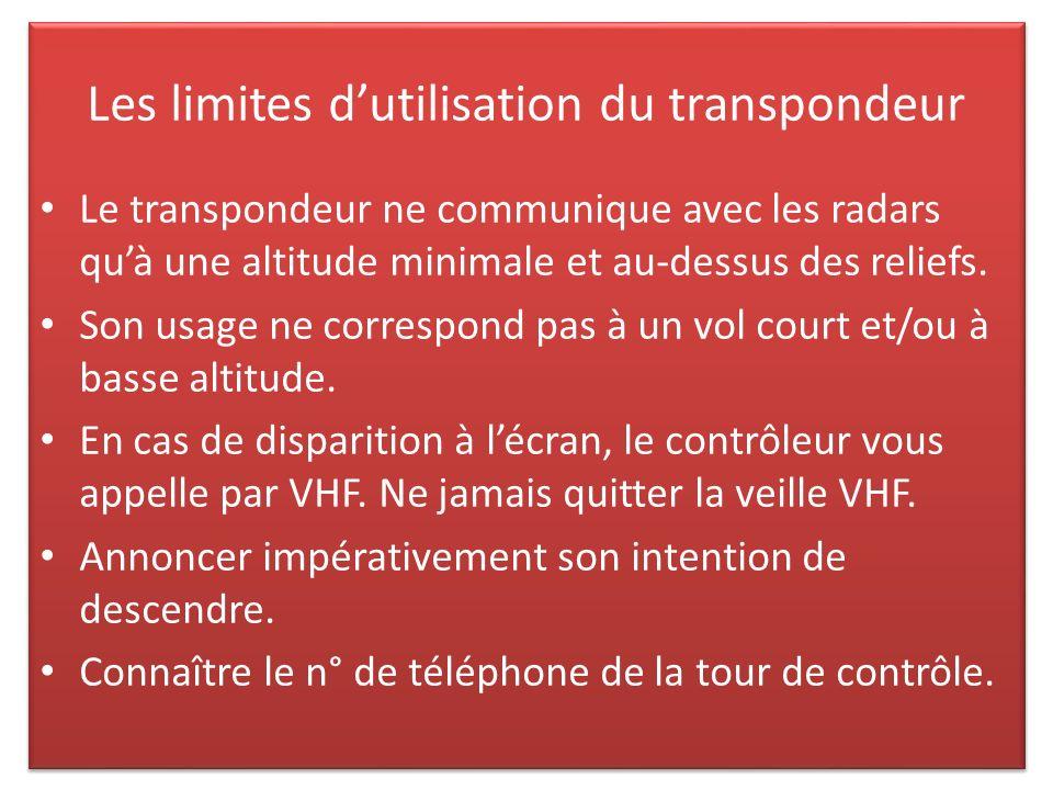 Les limites dutilisation du transpondeur Le transpondeur ne communique avec les radars quà une altitude minimale et au-dessus des reliefs.