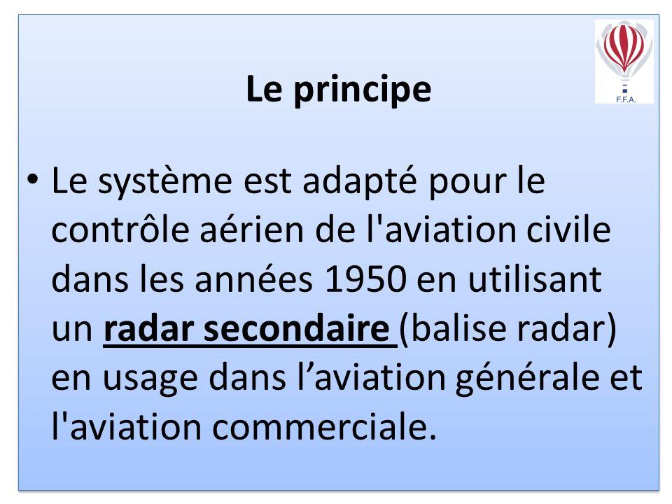 Le principe Le système est adapté pour le contrôle aérien de l aviation civile dans les années 1950 en utilisant un radar secondaire (balise radar) en usage dans laviation générale et l aviation commerciale.