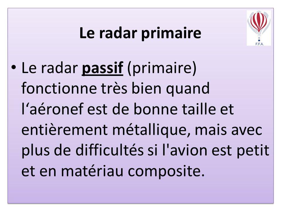 Le radar primaire Le radar passif (primaire) fonctionne très bien quand laéronef est de bonne taille et entièrement métallique, mais avec plus de difficultés si l avion est petit et en matériau composite.