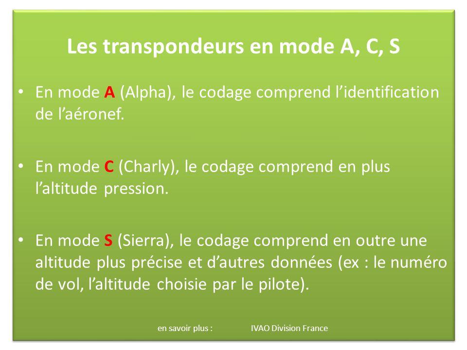 Les transpondeurs en mode A, C, S En mode A (Alpha), le codage comprend lidentification de laéronef.