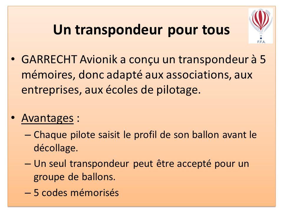 Un transpondeur pour tous GARRECHT Avionik a conçu un transpondeur à 5 mémoires, donc adapté aux associations, aux entreprises, aux écoles de pilotage.