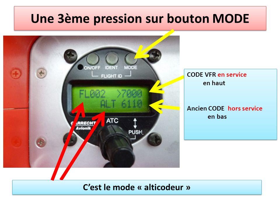 Une 3ème pression sur bouton MODE CODE VFR en service en haut Ancien CODE hors service en bas CODE VFR en service en haut Ancien CODE hors service en bas Cest le mode « alticodeur »