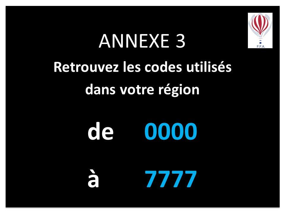 ANNEXE 3 Retrouvez les codes utilisés dans votre région de 0000 à7777 ANNEXE 3 Retrouvez les codes utilisés dans votre région de 0000 à7777