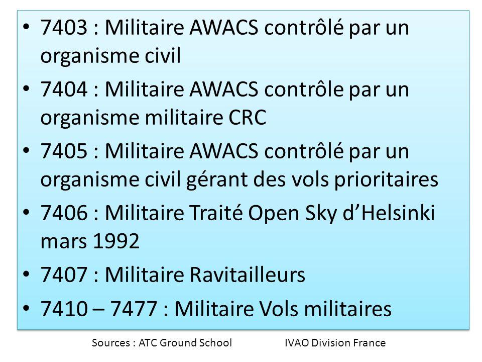 7403 : Militaire AWACS contrôlé par un organisme civil 7404 : Militaire AWACS contrôle par un organisme militaire CRC 7405 : Militaire AWACS contrôlé par un organisme civil gérant des vols prioritaires 7406 : Militaire Traité Open Sky dHelsinki mars 1992 7407 : Militaire Ravitailleurs 7410 – 7477 : Militaire Vols militaires 7403 : Militaire AWACS contrôlé par un organisme civil 7404 : Militaire AWACS contrôle par un organisme militaire CRC 7405 : Militaire AWACS contrôlé par un organisme civil gérant des vols prioritaires 7406 : Militaire Traité Open Sky dHelsinki mars 1992 7407 : Militaire Ravitailleurs 7410 – 7477 : Militaire Vols militaires Sources : ATC Ground School IVAO Division France