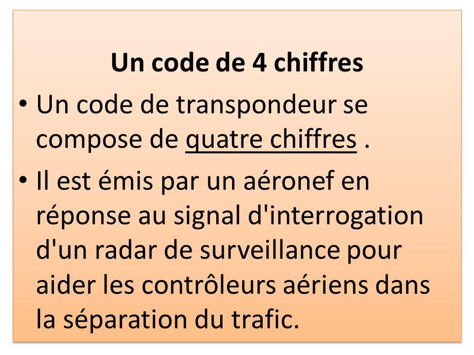 Un code de 4 chiffres Un code de transpondeur se compose de quatre chiffres.