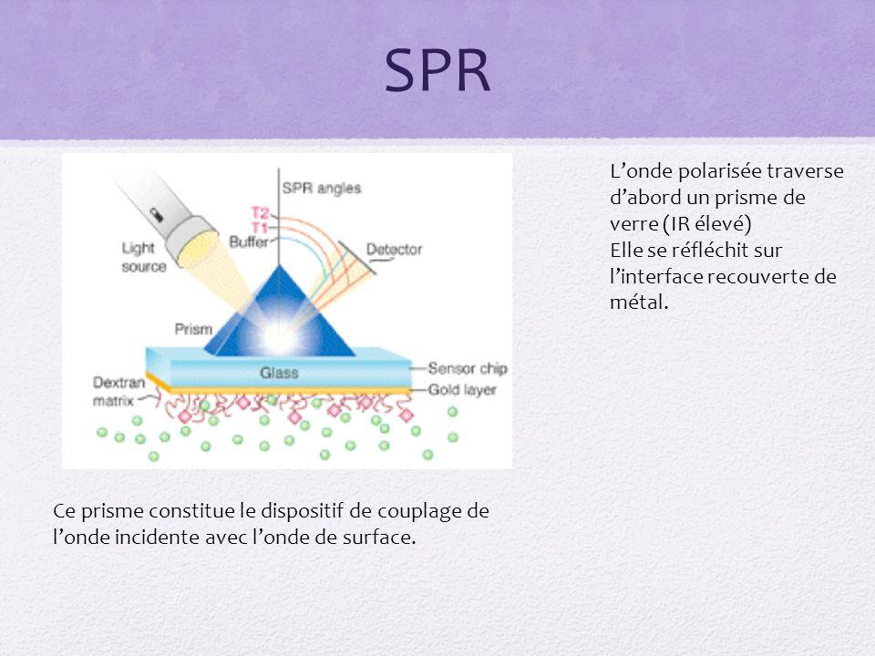 SPR Londe polarisée traverse dabord un prisme de verre (IR élevé) Elle se réfléchit sur linterface recouverte de métal.