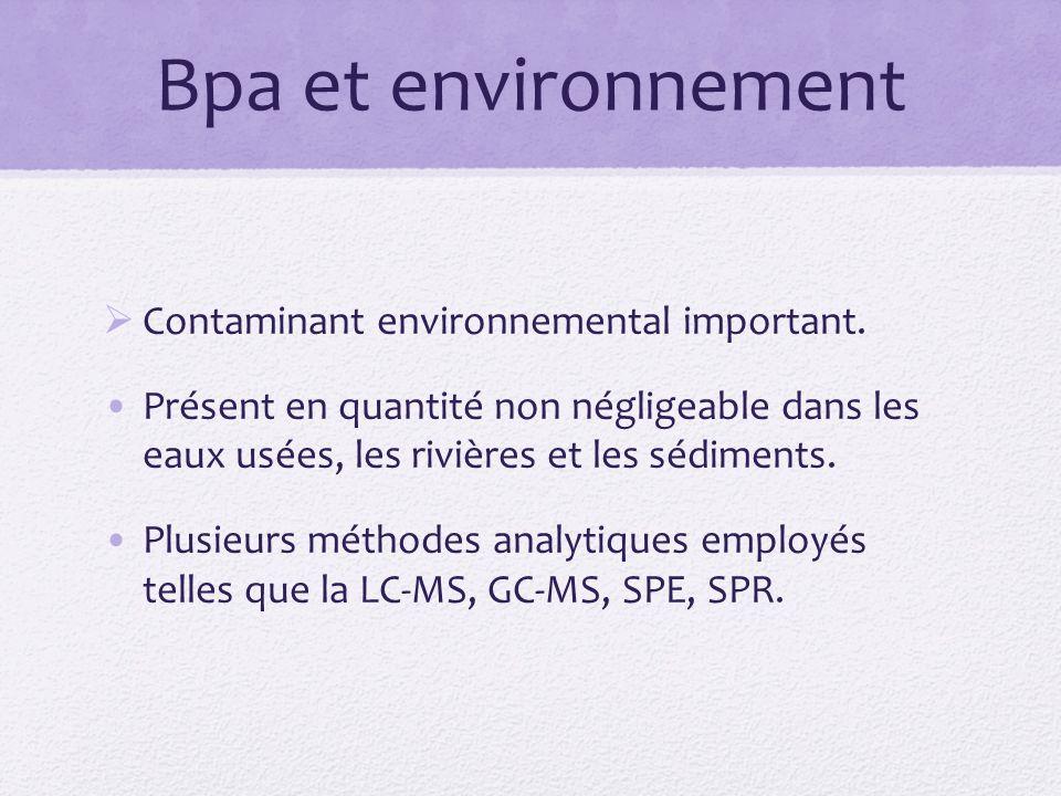 Bpa et environnement Contaminant environnemental important.