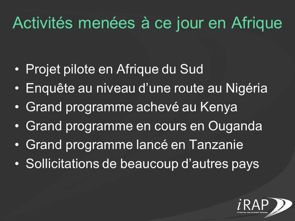 Activités menées à ce jour en Afrique Projet pilote en Afrique du Sud Enquête au niveau dune route au Nigéria Grand programme achevé au Kenya Grand pr