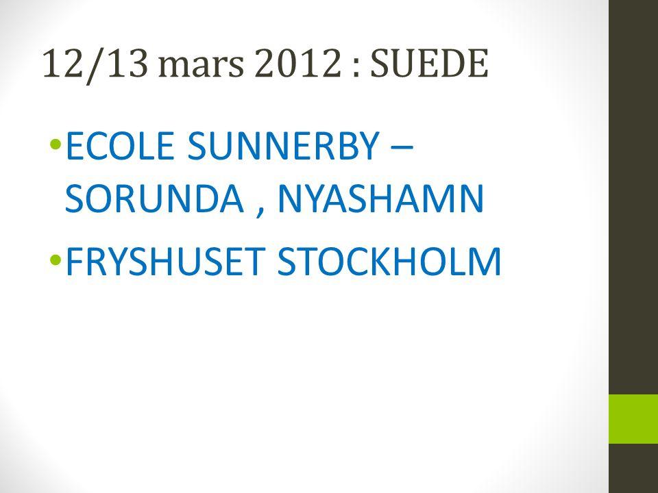 12/13 mars 2012 : SUEDE ECOLE SUNNERBY – SORUNDA, NYASHAMN FRYSHUSET STOCKHOLM