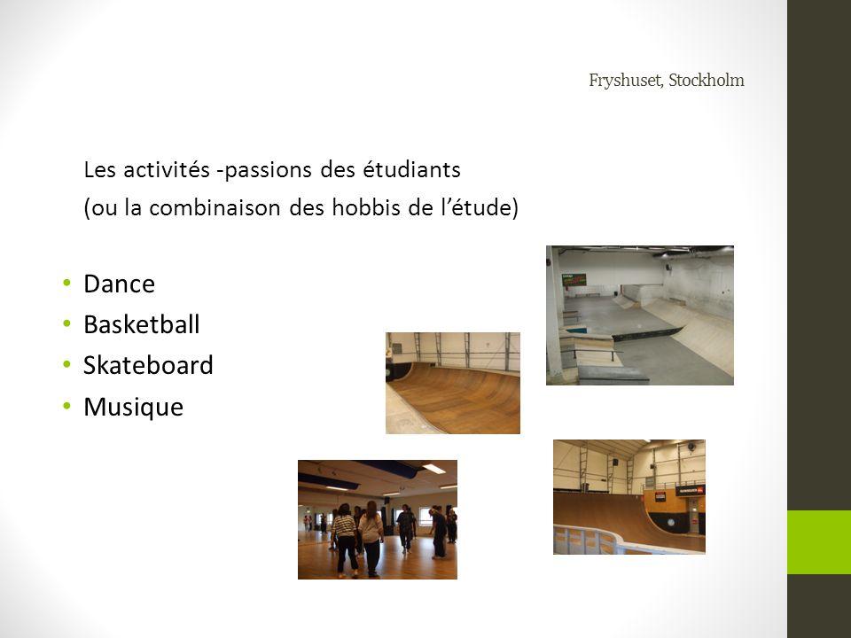 Fryshuset, Stockholm Les activités -passions des étudiants (ou la combinaison des hobbis de létude) Dance Basketball Skateboard Musique