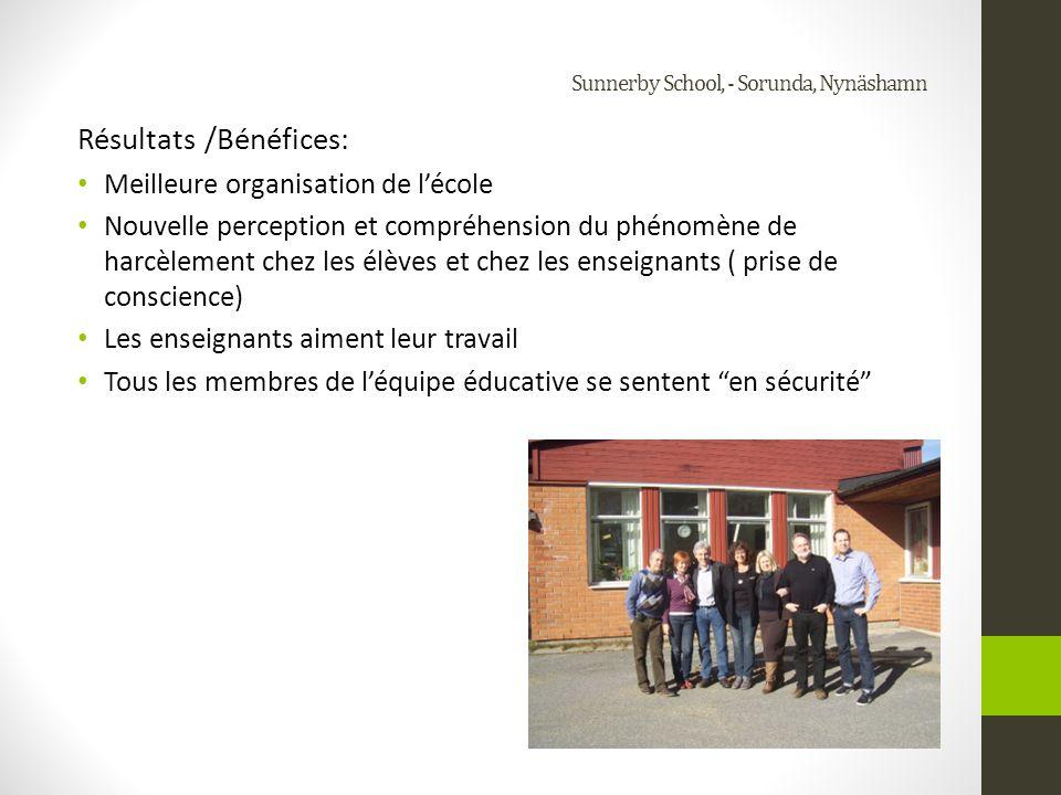 Sunnerby School, - Sorunda, Nynäshamn Résultats /Bénéfices: Une véritabe identité de lécole a été créée Lapplication des règles et la création dune ambiance de travail en sécurité est laffaire de tous