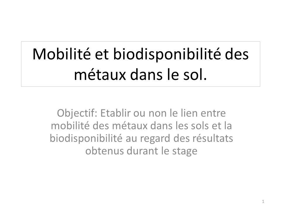 Mobilité et biodisponibilité des métaux dans le sol. Objectif: Etablir ou non le lien entre mobilité des métaux dans les sols et la biodisponibilité a