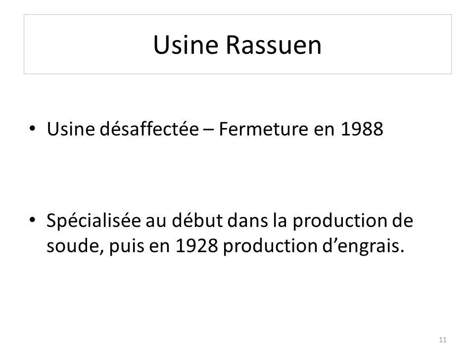 Usine Rassuen Usine désaffectée – Fermeture en 1988 Spécialisée au début dans la production de soude, puis en 1928 production dengrais. 11