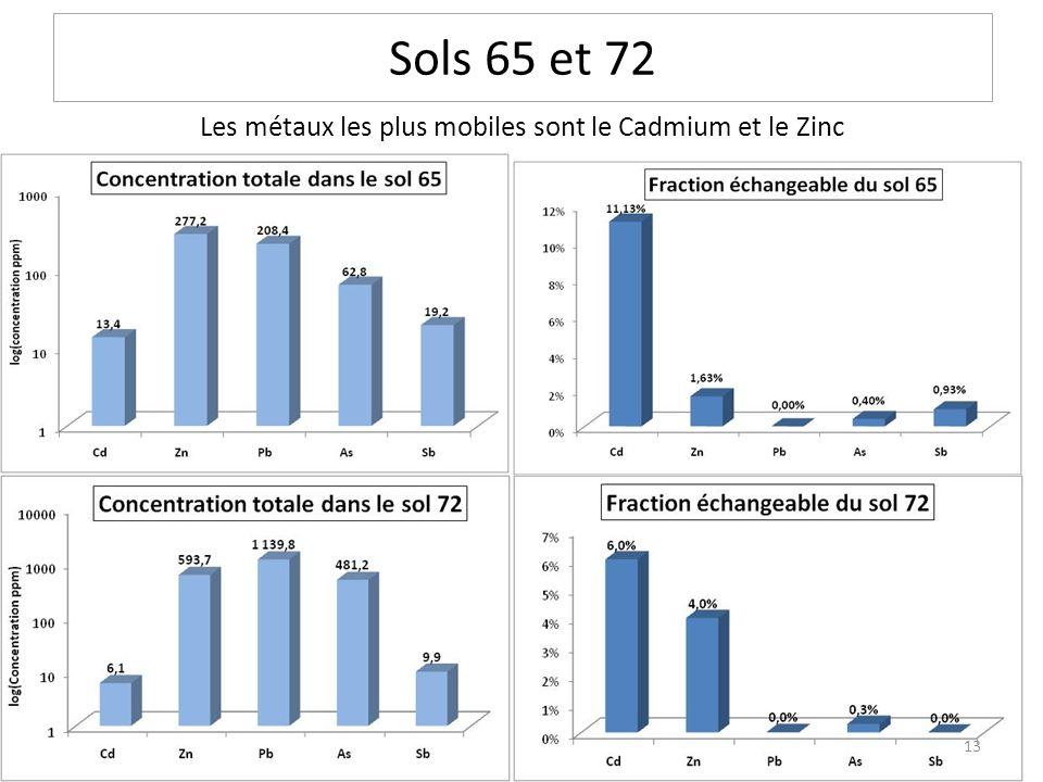 Les métaux les plus mobiles sont le Cadmium et le Zinc Sols 65 et 72 13