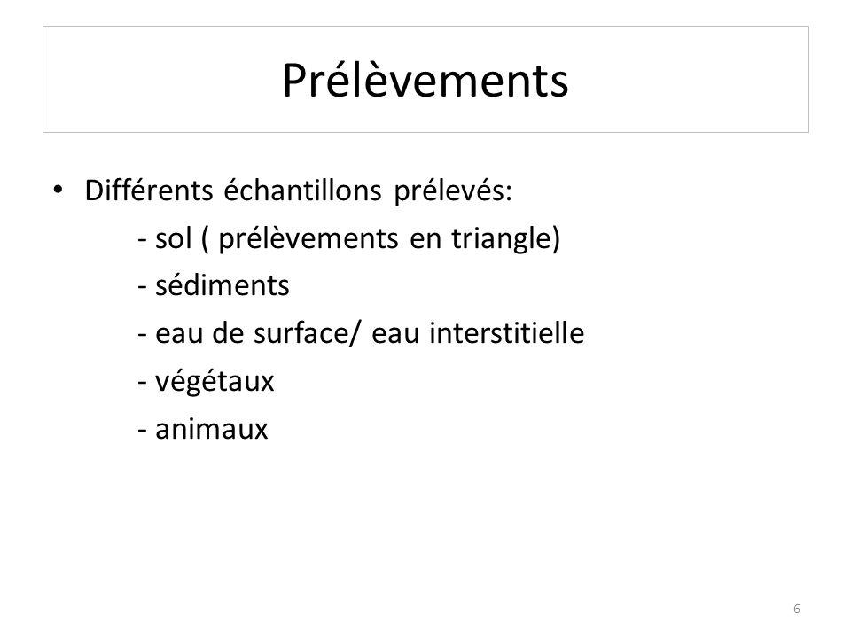 Prélèvements Différents échantillons prélevés: - sol ( prélèvements en triangle) - sédiments - eau de surface/ eau interstitielle - végétaux - animaux