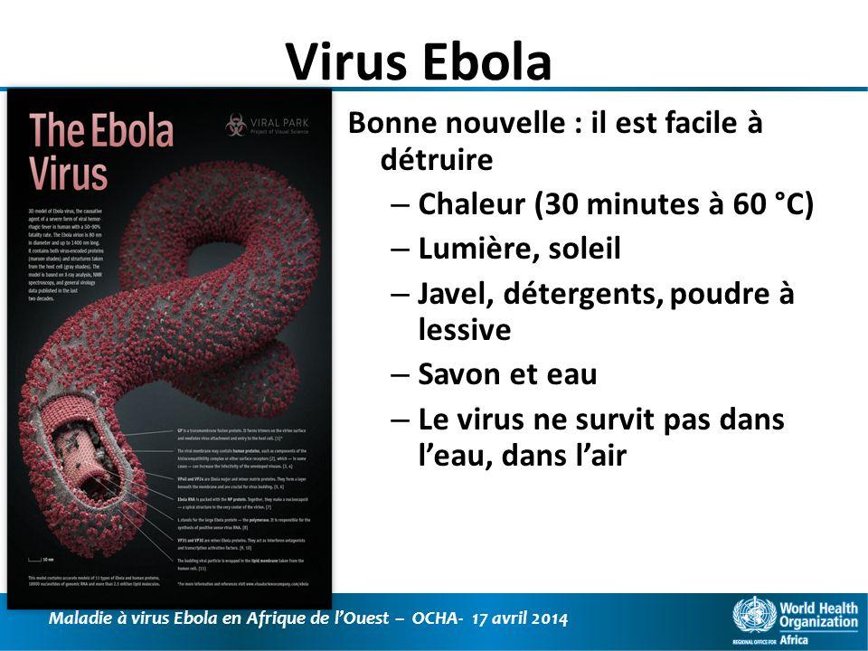 Maladie à virus Ebola en Afrique de lOuest – OCHA- 17 avril 2014 Epidémie de Fièvre Hémorragique Ebola en Guinée (16 avril 2014) 198 cas dont 122 décès (létalité : 61,6%) 1 point = 1 cas suspect 1 point = 1 cas confirmé au Labo Guéckedou Macenta Kissidougou Dabola Djinguiraye Conakry