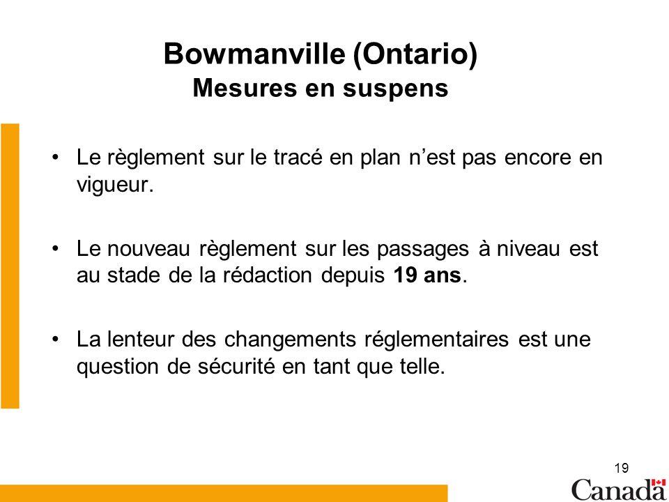 19 Bowmanville (Ontario) Mesures en suspens Le règlement sur le tracé en plan nest pas encore en vigueur.