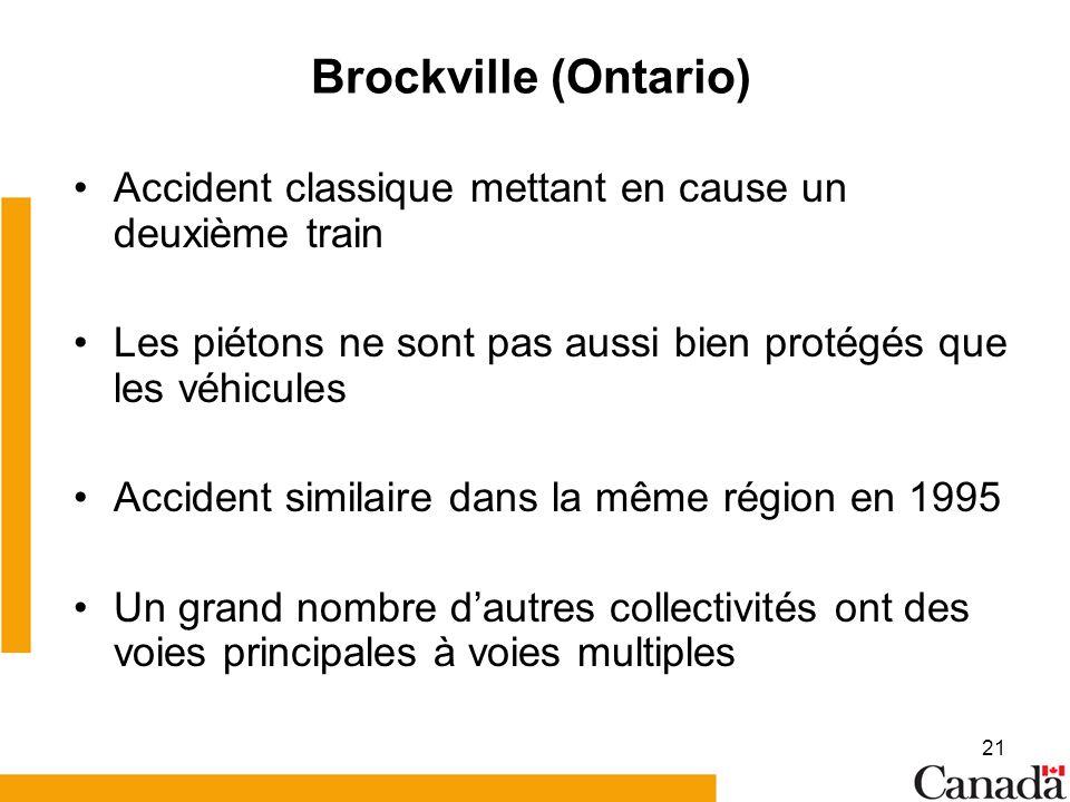 21 Brockville (Ontario) Accident classique mettant en cause un deuxième train Les piétons ne sont pas aussi bien protégés que les véhicules Accident similaire dans la même région en 1995 Un grand nombre dautres collectivités ont des voies principales à voies multiples