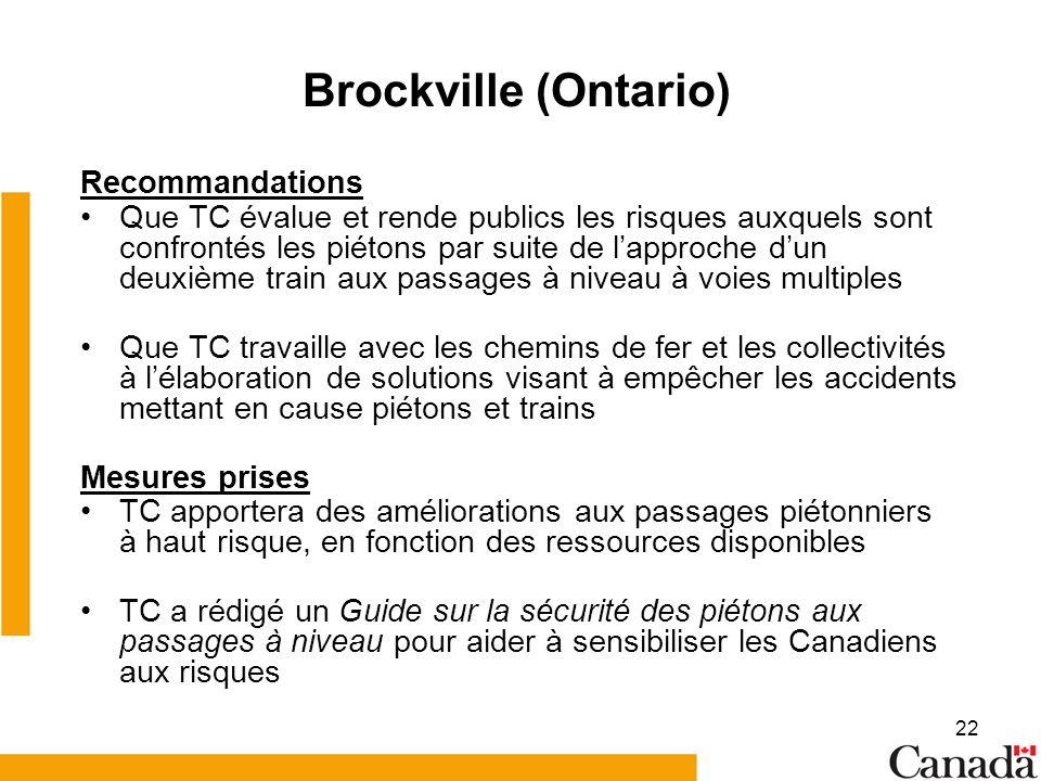 22 Brockville (Ontario) Recommandations Que TC évalue et rende publics les risques auxquels sont confrontés les piétons par suite de lapproche dun deuxième train aux passages à niveau à voies multiples Que TC travaille avec les chemins de fer et les collectivités à lélaboration de solutions visant à empêcher les accidents mettant en cause piétons et trains Mesures prises TC apportera des améliorations aux passages piétonniers à haut risque, en fonction des ressources disponibles TC a rédigé un Guide sur la sécurité des piétons aux passages à niveau pour aider à sensibiliser les Canadiens aux risques