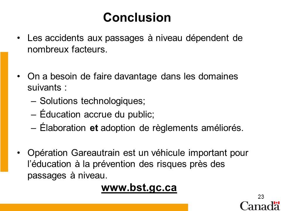 23 Conclusion Les accidents aux passages à niveau dépendent de nombreux facteurs.