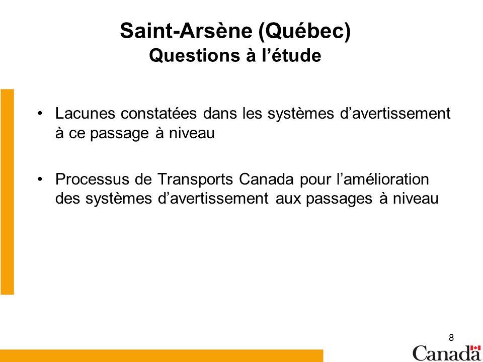 8 Saint-Arsène (Québec) Questions à létude Lacunes constatées dans les systèmes davertissement à ce passage à niveau Processus de Transports Canada pour lamélioration des systèmes davertissement aux passages à niveau